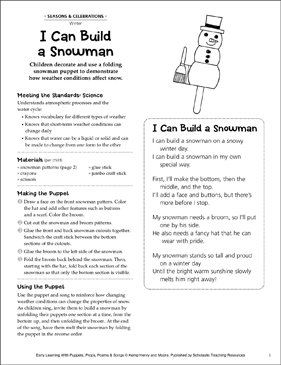 I Can Build a Snowman: Early Learning Activity - Printable Worksheet