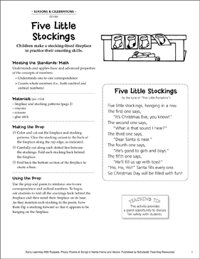 Five Little Stockings: Early Learning Activity - Printable Worksheet