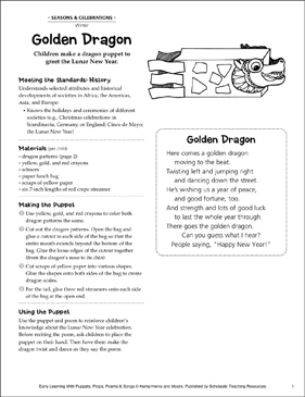 Golden Dragon: Early Learning Activity - Printable Worksheet