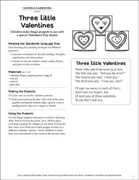 Three Little Valentines: Early Learning Activity - Printable Worksheet