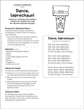 Dance, Leprechaun! Early Learning Puppet - Printable Worksheet