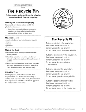 The Recycle Bin: Early Learning Activity - Printable Worksheet
