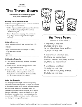 The Three Bears (Size): Early Learning Activity - Printable Worksheet