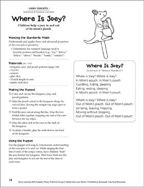 Where Is Joey? (In/Out): Early Learning Activity - Printable Worksheet