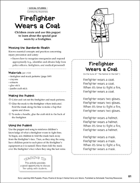 Firefighter Wears a Coat: Early Learning Activity - Printable Worksheet