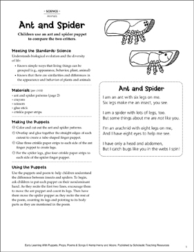 Ant and Spider: Early Learning Activity - Printable Worksheet