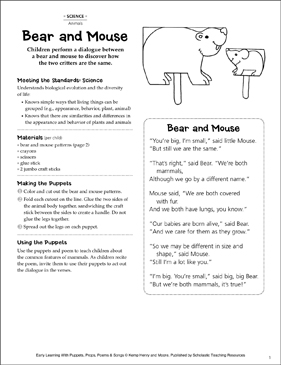 Bear and Mouse: Early Learning Activity - Printable Worksheet