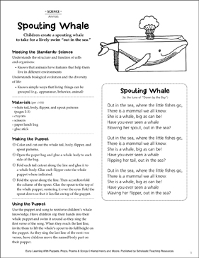 Spouting Whale: Early Learning Activity - Printable Worksheet