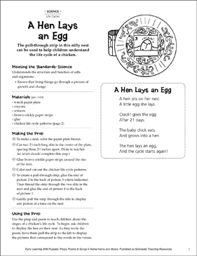 A Hen Lays an Egg: Early Learning Activity - Printable Worksheet