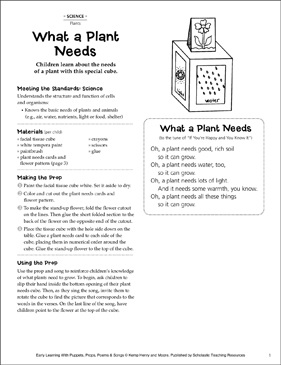 Plants: Early Learning Activities - Printable Worksheet