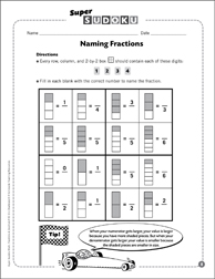 Sudoku Puzzle: Naming Fractions - Printable Worksheet