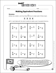Sudoku Puzzle: Making Equivalent Fractions - Printable Worksheet