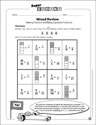 Sudoku Puzzle: Mixed Review (Naming Fractions and Making Equivalent Fractions) - Printable Worksheet