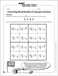 Sudoku Puzzle: Converting Mixed Numbers & Improper Fractions - Printable Worksheet