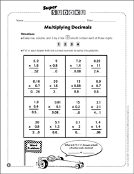 Sudoku Puzzle: Multiplying Decimals - Printable Worksheet