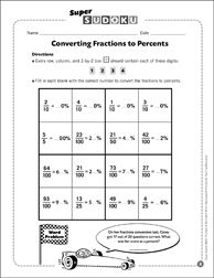 Sudoku Puzzle: Converting Fractions to Percents - Printable Worksheet