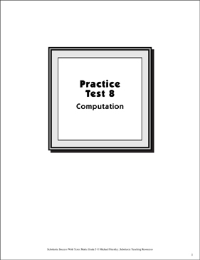 Math Skills Practice Test 8: Grade 5 (Computation) - Printable Worksheet