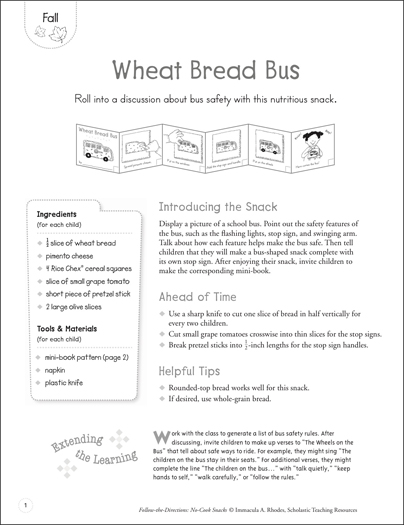 Wheat Bread Bus: No-Cook Snack Recipe - Printable Worksheet