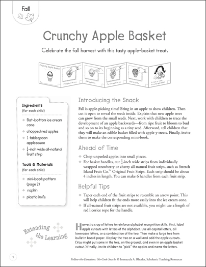 Crunchy Apple Basket (Fall): Follow-the-Directions No-Cook Snack - Printable Worksheet