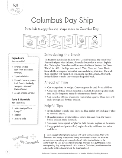 Columbus Day Ship (Fall): Follow-the-Directions No-Cook Snack - Printable Worksheet