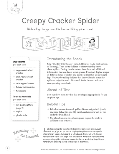 Creepy Cracker Spider (Fall): Follow-the-Directions No-Cook Snack - Printable Worksheet