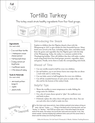 Tortilla Turkey (Fall): Follow-the-Directions No-Cook Snack - Printable Worksheet