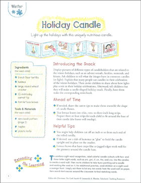 Holiday Candle (Winter): Follow-the-Directions No-Cook Snack - Printable Worksheet