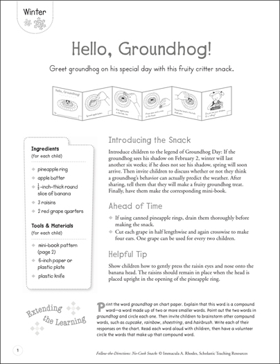 Hello, Groundhog (Winter): Follow-the-Directions No-Cook Snack - Printable Worksheet