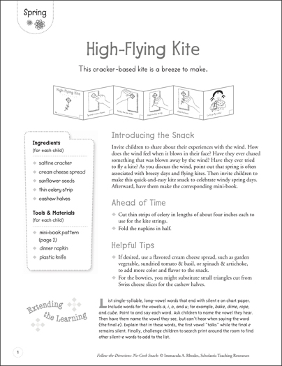 High-Flying Kite (Spring): Follow-the-Directions No-Cook Snack - Printable Worksheet