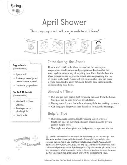 April Shower: Follow Directions No-Cook Recipe - Printable Worksheet