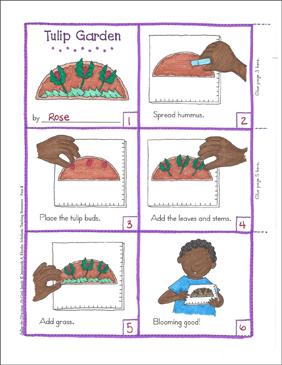Tulip Garden (Spring): Follow-the-Directions No-Cook Snack - Printable Worksheet