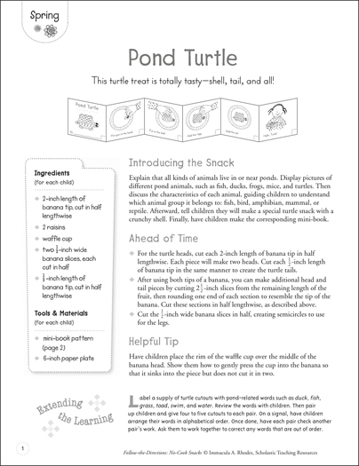 Pond Turtle (Spring): Follow-the-Directions No-Cook Snack - Printable Worksheet