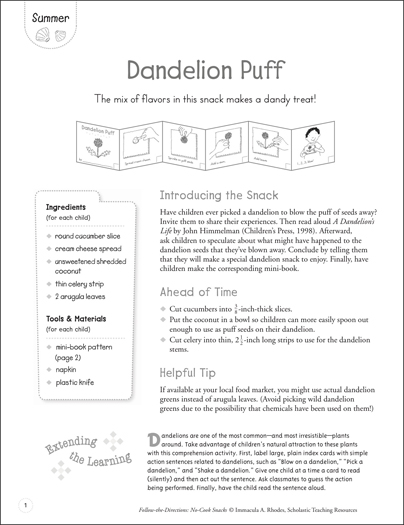 Dandelion Puff (Summer): Follow-the-Directions No-Cook Snack - Printable Worksheet