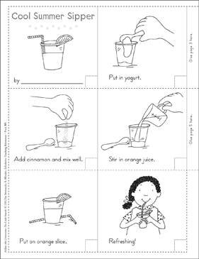 Cool Summer Sipper (Summer): Follow-the-Directions No-Cook Snack - Printable Worksheet