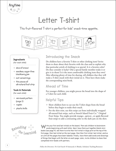 Letter T-shirt: Follow-the-Directions No-Cook Snack - Printable Worksheet