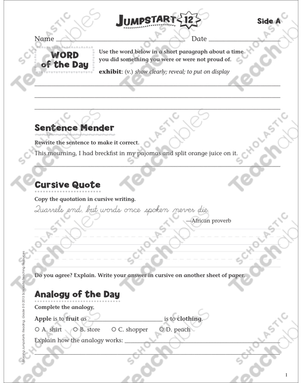 Independent Practice: Grade 5 Reading Jumpstart 12 | Printable ...