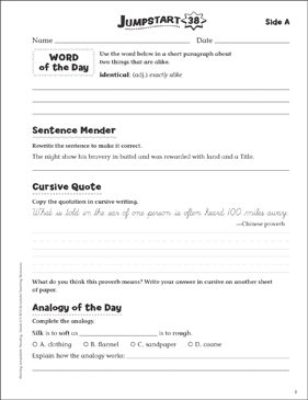 Independent Practice: Grade 5 Reading Jumpstart 38 - Printable Worksheet