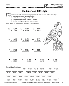The American Bald Eagle - Addition With Multiple Regrouping - Printable Worksheet
