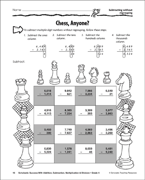 Chess, Anyone? - Subtracting Without Regrouping - Printable Worksheet
