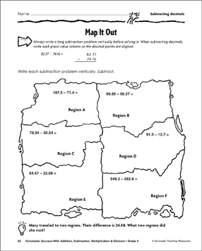Map It Out - Subtracting Decimals - Printable Worksheet