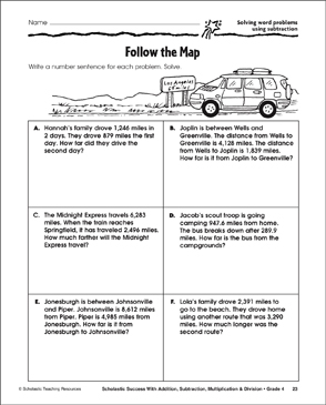 Follow the Map - Solving Word Problems Using Subtraction - Printable Worksheet