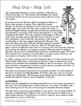 May Day: Customs and Traditions - Printable Worksheet