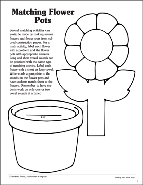 image relating to Flower Pot Printable called Matching Flower Pots: Layouts Printable Arts, Crafts and