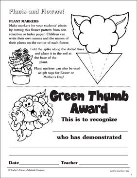 Plant Marker and Green Thumb Award Patterns - Printable Worksheet
