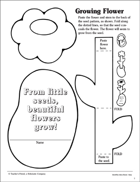 growing flower craft activity printable arts crafts and skills sheets. Black Bedroom Furniture Sets. Home Design Ideas