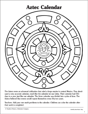 Aztec Calendar Reference And Pattern Page Printable