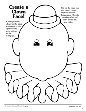 picture relating to Printable Clown Face titled Develop a Clown Confront: Attribute Behaviors Printable Arts