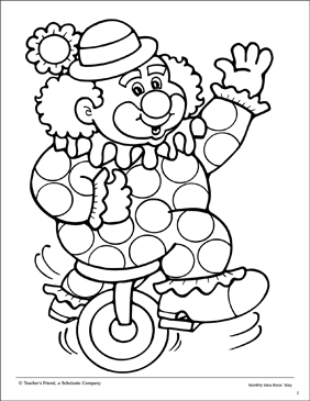 Clown and Unicycle: Coloring Page - Printable Worksheet