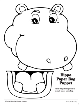 image about Printable Paper Bag Puppets referred to as Hippo: Paper Bag Puppet Habit Printable Arts, Crafts and