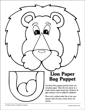 Dynamic image throughout printable paper bag puppets